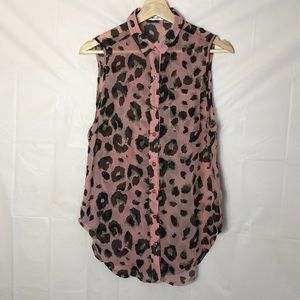 Roommates Sheer Tunic Style Button Up Blouse Sz:XS